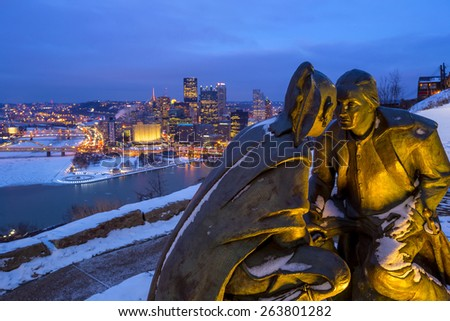 Skyline of downtown Pittsburgh at twilight USA - stock photo