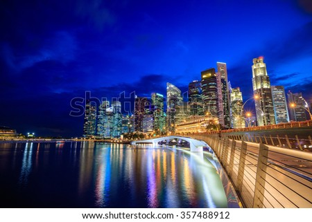 Skyline of downtown Singapore at a beautiful twilight