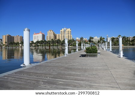 Skyline of downtown West Palm Beach from the Clematis Docks on Lake Worth - stock photo