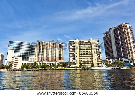 skyline of Fort Lauderdale from the canal - stock photo