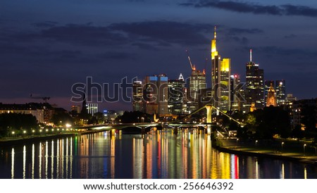 Skyline of Frankfurt am Main city after sunset. Frankfurt, Germany - stock photo