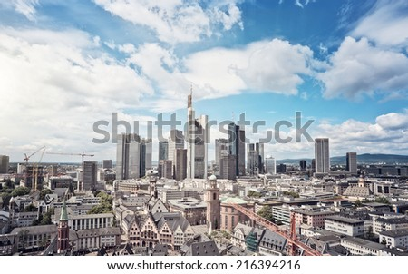Skyline of Frankfurt am Main, Germany, financial capital of the european union - stock photo