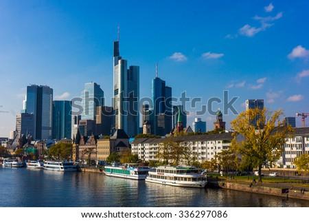 Skyline of Frankfurt, Germany. View of Frankfurt am Main - stock photo