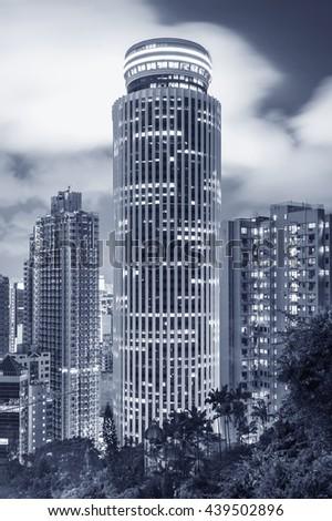 Skyline of Hong Kong City at dusk - stock photo