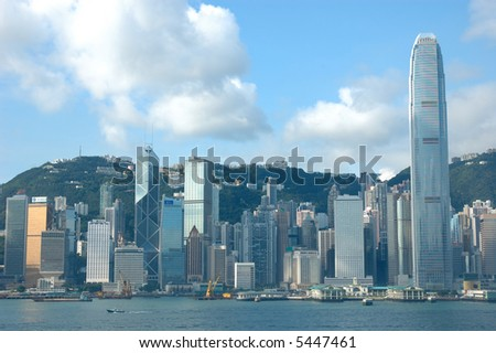 Skyline of Hong Kong cityscape - stock photo