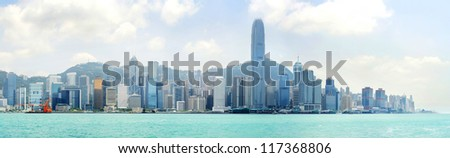 Skyline of Hong Kong island from Kowloon bay in the sunshine day - stock photo