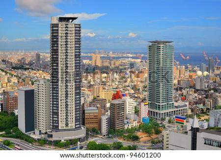 Skyline of Kobe, Japan at the Shin-Kobe District. - stock photo