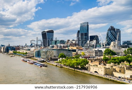 Skyline of London with the Thames River - stock photo