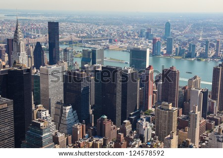 Skyline of Manhattan in New York City, United States - stock photo