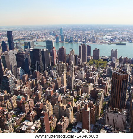 Skyline of Manhattan in New York City, United States (square)