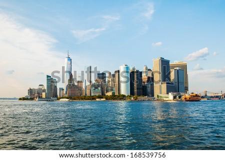 Skyline of Manhattan on the Hudson River - stock photo