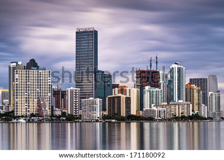 Skyline of Miami, Florida, USA.  - stock photo