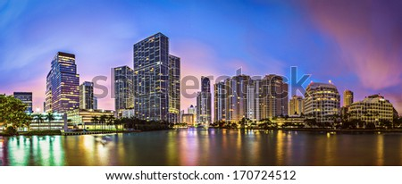 Skyline of Miami, Florida, USA at Brickell Key and Miami River. - stock photo