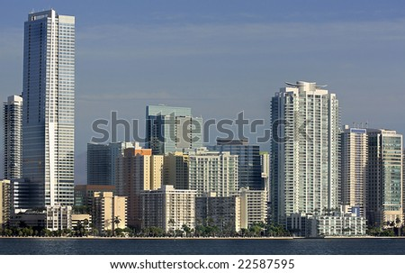 Skyline of Miami, Florida with Offices and apartments - stock photo