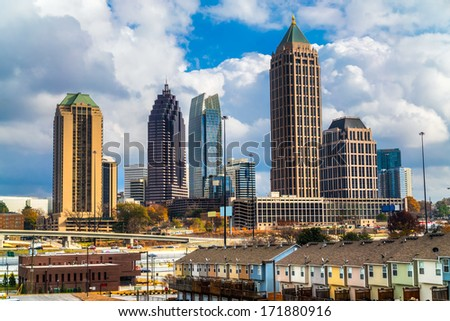 Skyline of Midtown Atlanta, Georgia, USA - stock photo