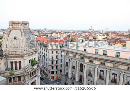 Skyline of Milan Italy early morning - stock photo