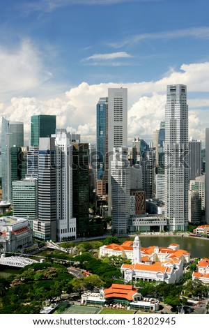 Skyline of modern business district and colonial Boat Quay, Singapore - stock photo