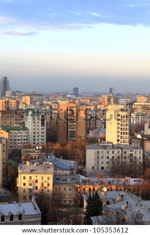 Skyline of Moscow in the evening. It is the capital and the most populous federal subject of Russia