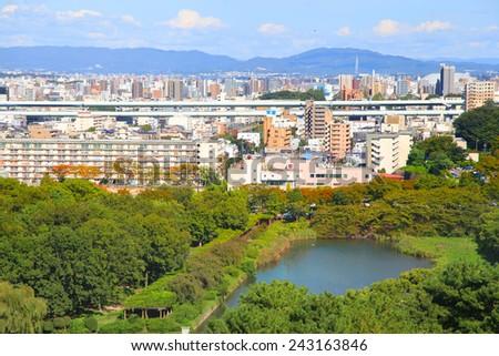 Skyline of Nagoya city in Japan - stock photo