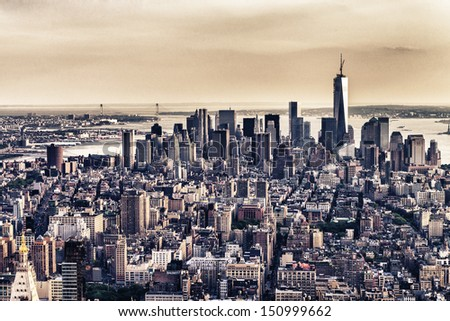 Skyline of New York City from helicopter. - stock photo