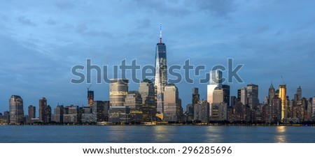 Skyline of New York City Manhattan on July 4th  2015 - stock photo