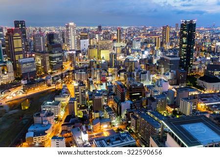 Skyline of Osaka City at night - stock photo