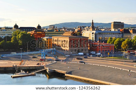 Skyline of Oslo from the opera house. Norway - stock photo