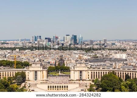Skyline of Paris in direction of La Defense Metropolitan Area from Eiffel Tower, France - stock photo