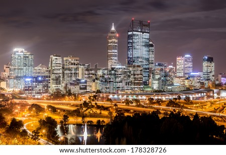 Skyline of Perth from Kings Park with a view of John Oldany Park at night. - stock photo