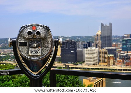 Skyline of Pittsburgh Pennsylvania with viewfinder - stock photo