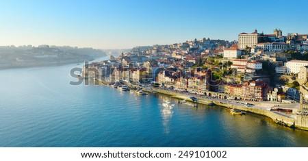 Skyline of Porto, Portugal. View from famous Eiffel bridge. - stock photo