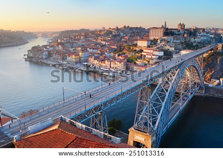 Skyline of Porto with famous Dom Luis I bridge on the foreground. Portugal - stock photo
