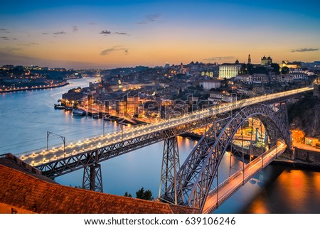 Skyline of Porto with the Dom Luiz bridge, Portugal