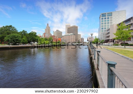 Skyline of Providence, Rhode Island. City view in New England region of the United States. - stock photo