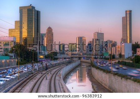 Skyline of Ramat Gan and the Ayalon Highway, the Financial District near Tel Aviv, Israel. - stock photo