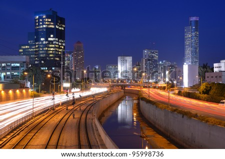 Skyline of Ramat Gan, the Financial District near Tel Aviv, Isreal. - stock photo