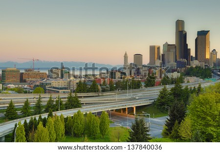 Skyline of Seattle Washington - stock photo