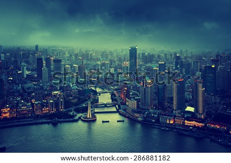skyline of Shanghai at sunset, China - stock photo