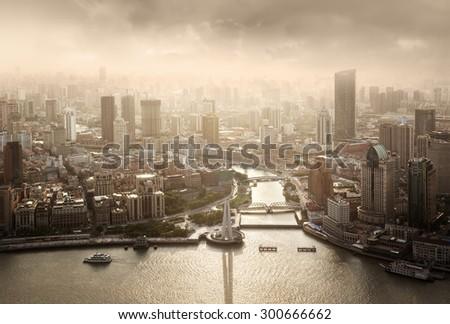 skyline of Shanghai at sunset, China - stock photo