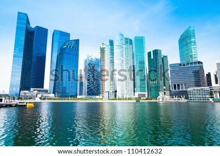 Skyline of Singapore business district Marina Bay. - stock photo