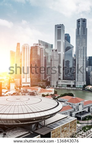 Skyline of Singapore business district, Singapore - stock photo