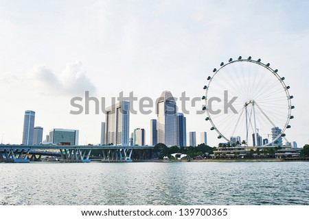 Skyline of Singapore with Flyer and modern buildings