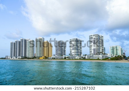skyline of  Sunny Isles Beach , Florida - stock photo