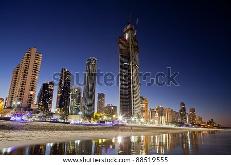 Skyline of Surfers Paradise taken from the beach - stock photo