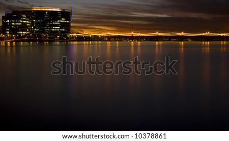 Skyline of Tempe Arizona at Sunset - stock photo