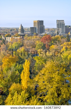 Skyline of the city of Boise Idaho in the fall - stock photo