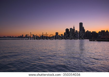 Skyline of the city of Chicago - stock photo