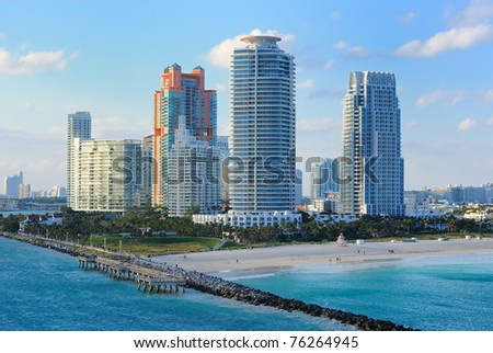 Skyline of the city of Miami, Florida. - stock photo