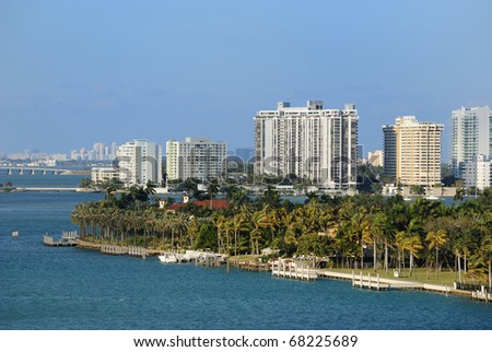 Skyline of the city of Miami, Florida along South Beach. - stock photo