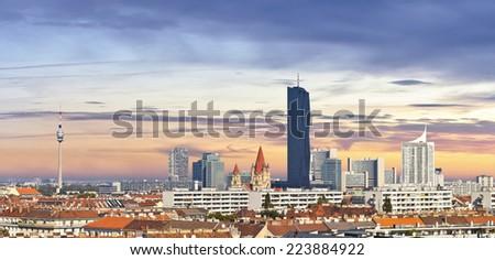 Skyline of the Danube City  - stock photo